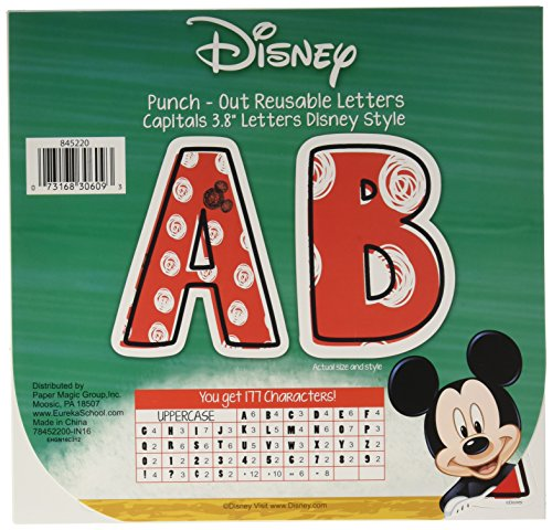 (Eureka Disney Mickey Mouse Red and White Punch Out Letter Classroom Decoration, 177 pc, 3.8'')