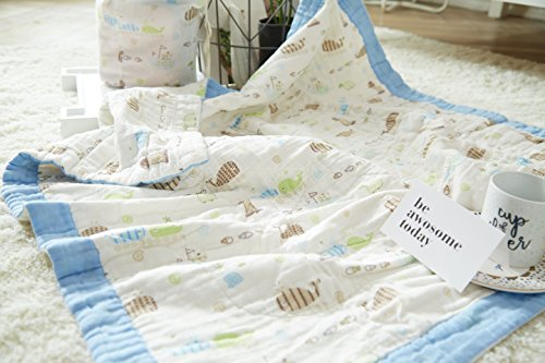 J-pinno Baby Whale Nursery Muslin Cotton Bed Quilt Blanket Crib Coverlet 43.5