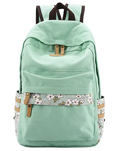 Mygreen Casual Style Canvas Backpack/School Bag/Travel Daypack Light Green by mygreen