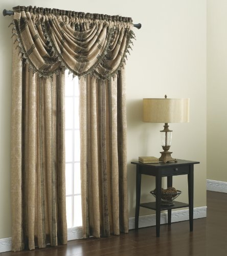 Chapel Hill by Croscill Marquis Waterfall Swag Valance, 48 by 33-Inch, Chocolate ()