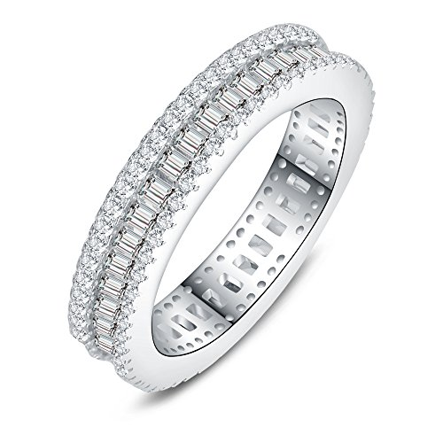 AoedeJ Round & Baguette Cut CZ 925 Sterling Silver Anniversary Wedding Engagement Band Eternity Ring (7) (Baguette Ring)