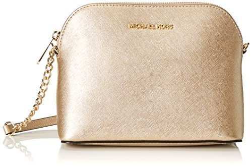 Michael Kors Cindy Leather Large Dome Crossbody Pale - Michael Glitter Kors