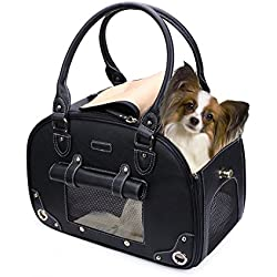 PetsHome Dog Carrier Purse, Pet Purse, Foldable Waterproof Premium Leather Pet Travel Portable Bag Carrier for Cat and Small Dog Home & Outdoor Small Black