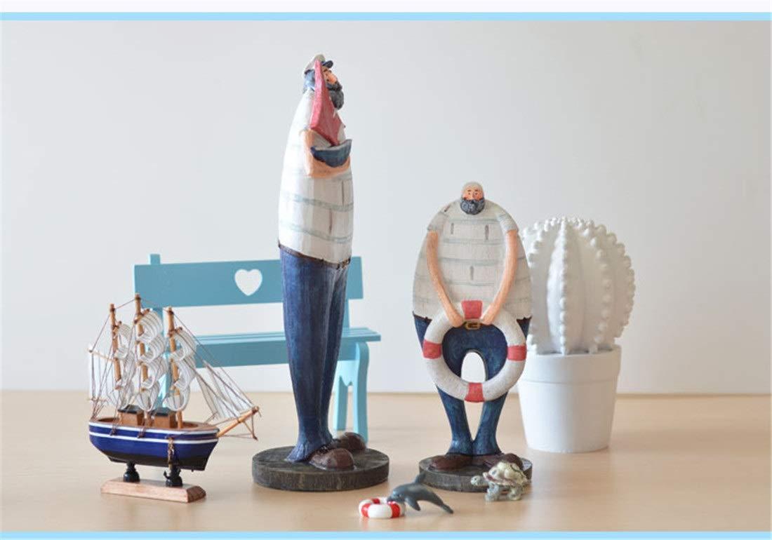 Style : Captain Casa perfecta Europeo Simple capit/án Marinero decoraci/ón de Resina Personalidad Creativa Bar TV Contador Sala de Estar decoraci/ón Moda