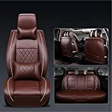 ANKIV FULL SET Universal Fit 5 Seats Car Adjustable Removable Auto Seat Cushions Waterproof PU Leather Car Seat Covers Protector with Headrest Pillows and Lumbar Support Pillows (FULL SET, Deep brown)