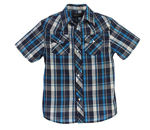 Gioberti Boys Casual Western Plaid Pearl Snap-on Buttons Short Sleeve Shirt, Turquoise/Navy/White : Size 7
