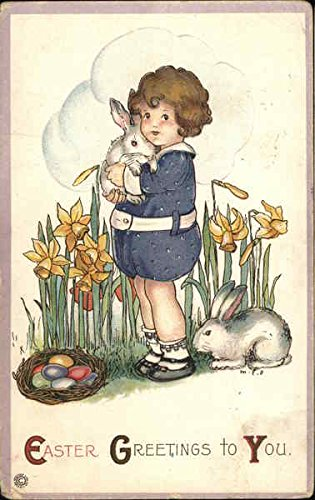 Easter Greetings to You - Girl Holding Bunny in Daffodils With Children Original Vintage Postcard
