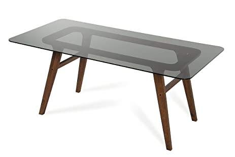 Modrest Zeppelin Modern Smoked Glass Dining Table Walnut/Walnut/Rectangular