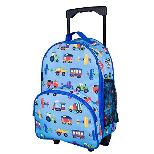 Wildkin Rolling Luggage, Features Telescopic Top Grab Handle with Convenient Extras for Quick and Easy Organization, Olive Kids Design - Trains, Planes and Trucks