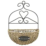 Demilune Shape Wicker Wall Hanging Flower Basket Planter with Iron Scrollwork Frame