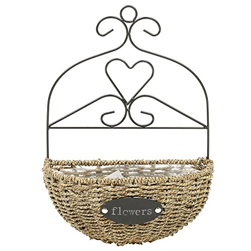 Demilune Shape Wicker Wall Hanging Flower Basket Planter with Iron Scrollwork Frame by MyGift