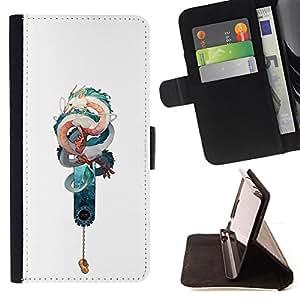 """Bright-Giant (Serpiente Dragón Teal blanco Suerte china"""") Modelo Colorido Cuero Carpeta Tirón Caso Cubierta Piel Holster Funda Protección Para Apple iPhone 5 / iPhone 5S"""