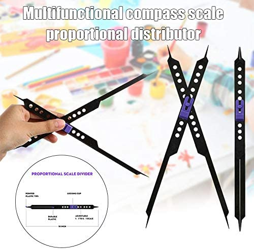 Domeilleur Drawing Ruler 10 Inches Proportional Scale Divider Drawing Tool For Artists Adjustable Plastic