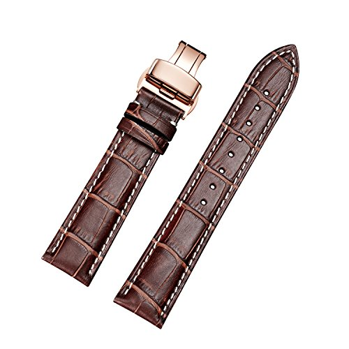 (EHHE ZPF Calfskin Leather Watch Bands with Rose Gold Deployment Buckle for Men and Women 18mm-24mm)