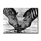 """Sunflower Art Two Zebras Animal Paintings 100% Handpainted Canvas Oil Paintings Wood Stretched Home Decor Ready To Hang 24x36"""" (60x90cm)"""