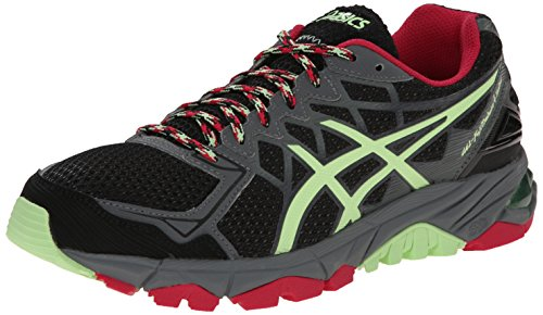 ASICS Women's Gel-Fujitrabuco 4 Neutral Running Shoe, Black/Pistachio/Wild Raspberry, 6 M (Raspberry Sport Shoe)