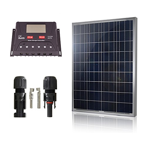 HQST Solar Panel Basic Home Kit 100Watt 100W Polycrystalline Solar Panel Kit with 30A controller 12V RV Boat Off Grid (Solar Panel Kits For Homes)
