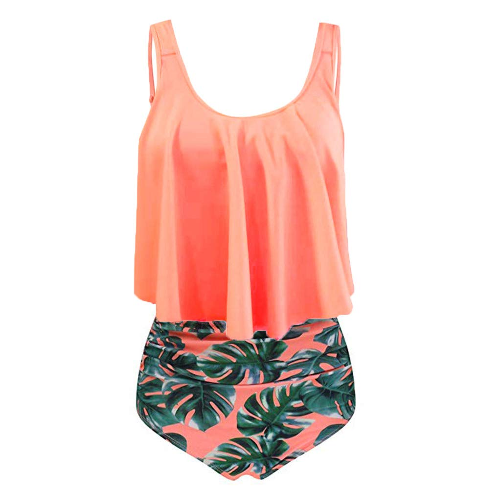 Women Two Piece Swimsuit Plus Size High Waisted Halter Neck Dot Printed Ruffled Bikini Set (L, Orange)