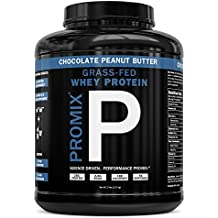 PROMIX #1 Undenatured Grass Fed Whey, Unbleached, Cold-processed, USA Farms Third Party Tested, No Preservative, Hormones, GMO's, Soy, or Gluten Look Better Naked Whey 5lb Chocolate Peanut Butter