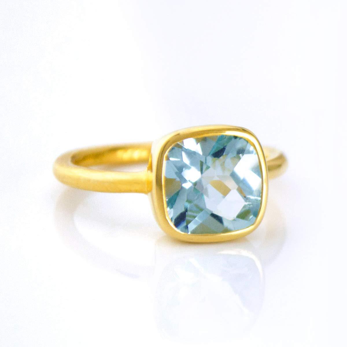 Blue Topaz Cushion Ring, Vermeil Gold or Sterling Silver, December Birthstone Ring