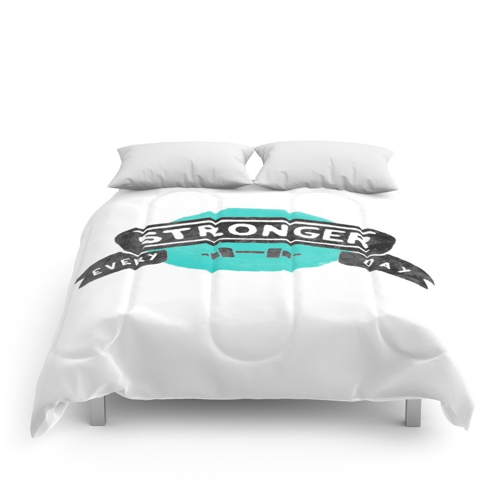 Society6 Stronger Every Day (dumbbell) Comforters Full: 79'' x 79''