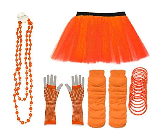 Momo&Ayat Fashions Ladies Neon UV Tutu Set Skirt Gloves Leg Warmers Bracelet Beads 80s Costume Size 6-22 (Orange, UK 6-14 (EUR 34-42))
