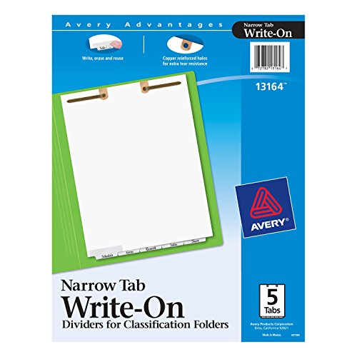 - Avery Write-On Dividers for 2-Prong Classification Folders, White, Narrow Bottom Tabs, 5-Tab Set (13164)