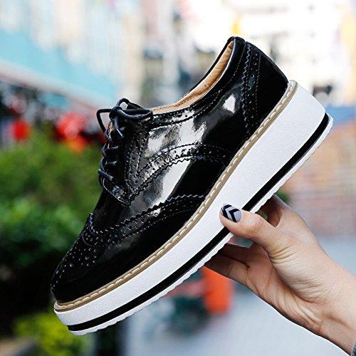 Negro Brogue para Vestir 5 Zapatos CM de Blanco Cordones Plataforma Mujer 4 Talón Negro wtIxOBq