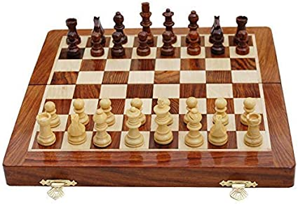 """15/"""" Magnetic Chess Chessmen Set Wooden Board Travel Game Folding Portable Large"""