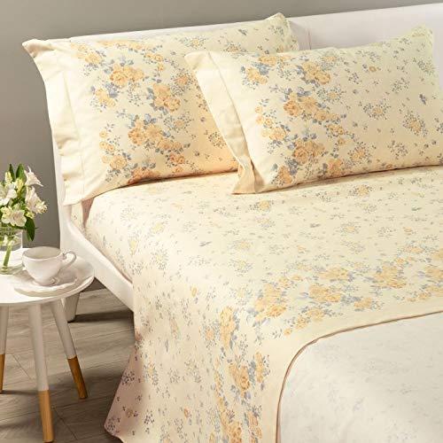 Caleffi Bettlaken Flanella Bouquet King Size Doppelbett Gold