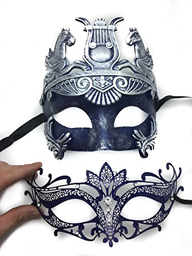 [Silver/blue Couple Lover Mask Antique Roman Egyptian Greek Ancient God Mardi Gras Style Masquerade Mask (SL/BL HERCULES W/] (Hercules Costume Couple)