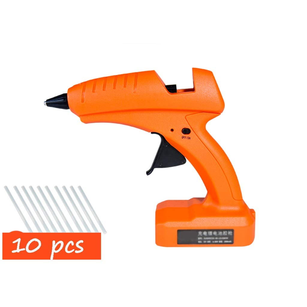 FeiQiangQiang Wireless Hot Melt Glue Gun, 30-80W Rechargeable Lithium Battery Hot Melt Glue Gun, with 10 Glue Sticks, Aluminum Nozzle, Home DIY Creation, Quick Fix, Orange Manual aid by FeiQiang
