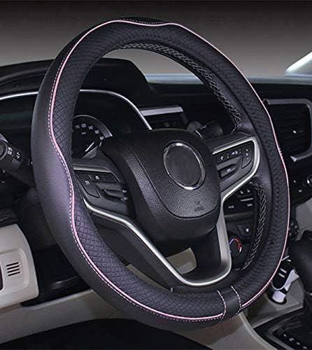 Istn Mikrofaser Leder Auto Lenkradbezug 38cm Für Die Meisten Autos Schwarz Pink Auto