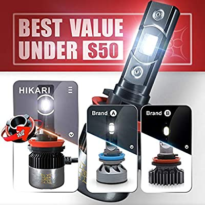 HIKARI H11/H9/H8 LED Headlight bulbs, New Gen of Japanese CSP LED Tech, Adjustable Beam, Easy install, 10000lm 6K Cool White IP68: Automotive
