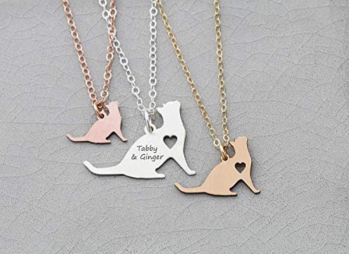 Kitten Necklace - IBD - Cat Lover Gift - Personalize with Name or Date - Choose Chain Length - Pendant Size Options - 935 Sterling Silver 14K Rose Gold Filled Charm - Ships in 1 Business Day
