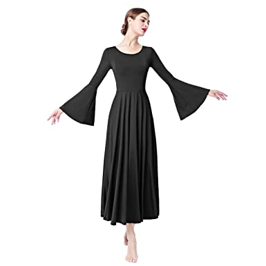 3922cefc735 Women Adult Bell Long Sleeves Liturgical Praise Lyrical Dance Dress Solid  Loose Fit Full Length Maxi