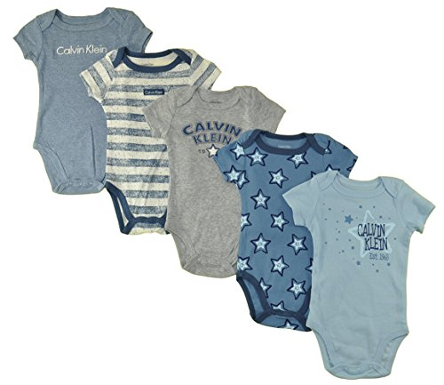 Calvin Klein Baby Boys' 5 Pack Bodysuits (12M, Grey/Blue)