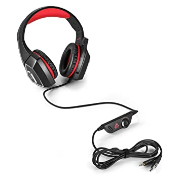 Gaming Headset with Mic for Xbox One PS4 PC Switch Tablet Smartphone-Red