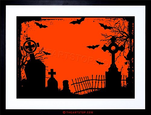 (The Art Stop Painting Halloween Graveyard Cemetery Silhouette Framed Print)