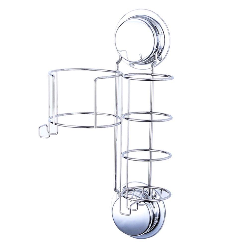 Ecoart Porta asciugacapelli e piastra con ganci, forti ventose o viti per montaggio a parete in acciaio inox e argento Artist