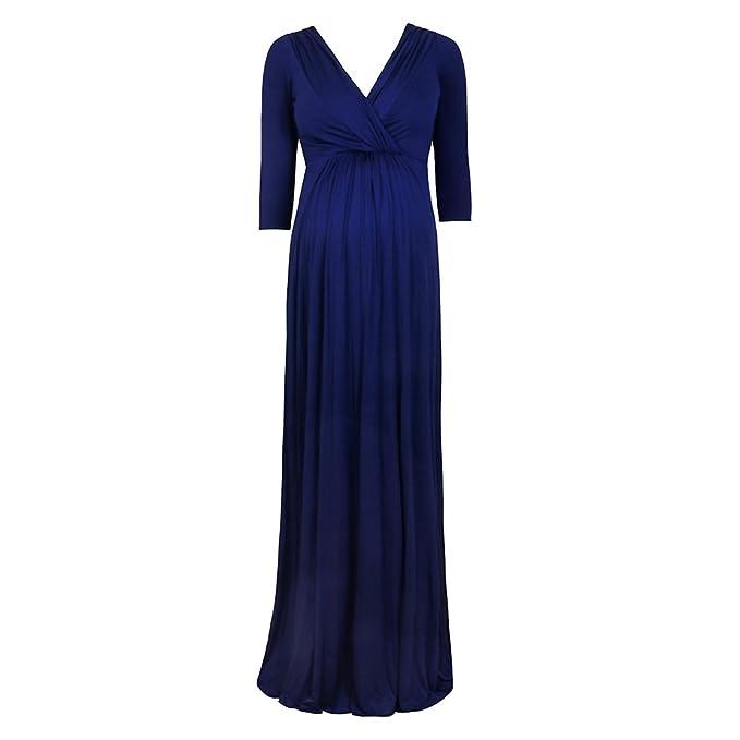 Decdeal - Elegante Vestido Largo con Cinturón para Premamá Embarazada, Color Azul Oscuro, Mangas