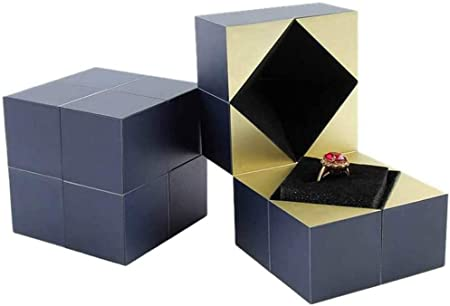 Not Including The Ring YEKKU Creative Cube Rings Box Puzzle Jewelry Box Jewellery Box Samll Gift Box with Special Paper Filled for Party Festivals Wedding Occasions