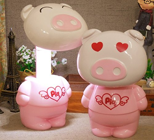 Cartoon Desk Light Table Lamp AOTOM Kids Bed Lamp Nursery Night Light with stretched Desk Night Lamp for Baby Kids Children (Pig Pink) (Best 3ds Max Models)