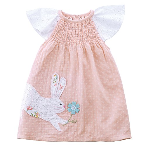 Mud Pie Baby Girls Easter Bunny Flutter Sleeve Smocked Casual Sun Dress, Eyelet Sleeve, 4T (Pink Eyelet Dress)