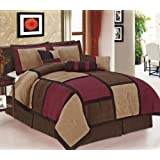 Legacy Decor 7-piece Burgundy Black & Beige Micro Suede Patchwork Comforter Set Machine Washable King Size, Bed-in-a Bag