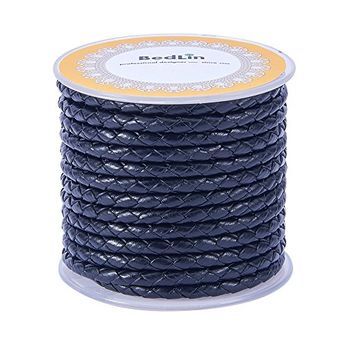 (PandaHall 1 Roll 4mm Round Folded Bolo Fold Braided Leather Cords for Necklace Bracelet Jewelry 5m per Roll)