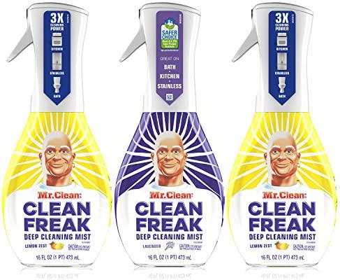 Mr. Clean, Clean Freak Deep Cleaning Mist Multi-Surface Spray, Lavender and Lemon Zest Scent Starter Kit Bundle Pack, 3 Count, 16 fl oz.