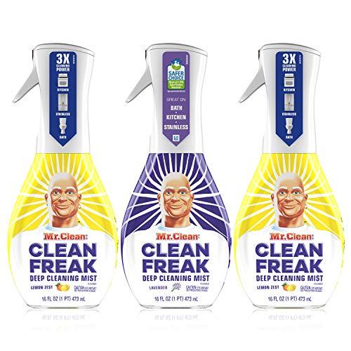 Mr. Clean Multi Surface Cleaner, Clean Freak Spray for Bathroom & Kitchen Cleaner, Lavender & Lemon Scent, 3 Count (16…