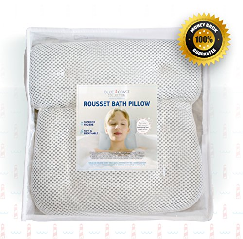 Blue Coast Collection Luxury Bath Pillow. Firm Neck and Shoulder Support with Super Soft Fibers and 6 Large Suction Cups. Non Slip bathtub pillow, Odor Resistant, Large Size and Quick - Seat Soaking Tub