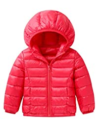 Toddler Winter Down Coat Kids Windproof Puff Hoodie Jacket Lightweight Outerwear